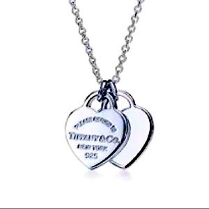 Love Double Heart Tiffany Authentic Heart Necklace
